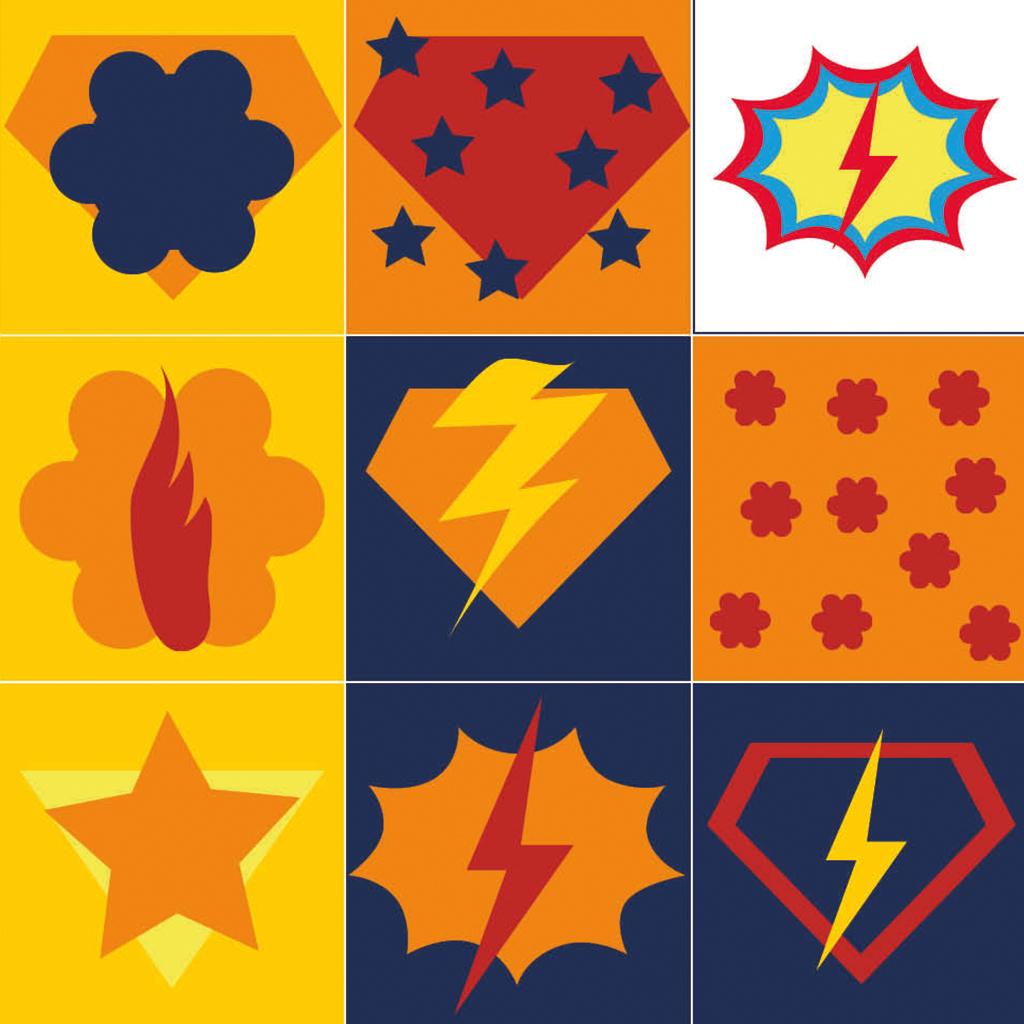 Superhelden-Memory-Beispielkarten 1