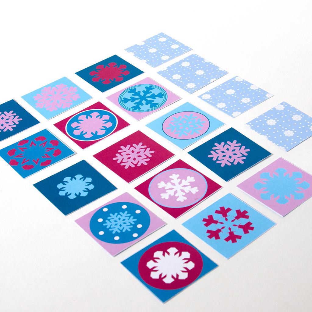Schneeflocken-Memory: Beispielmotive