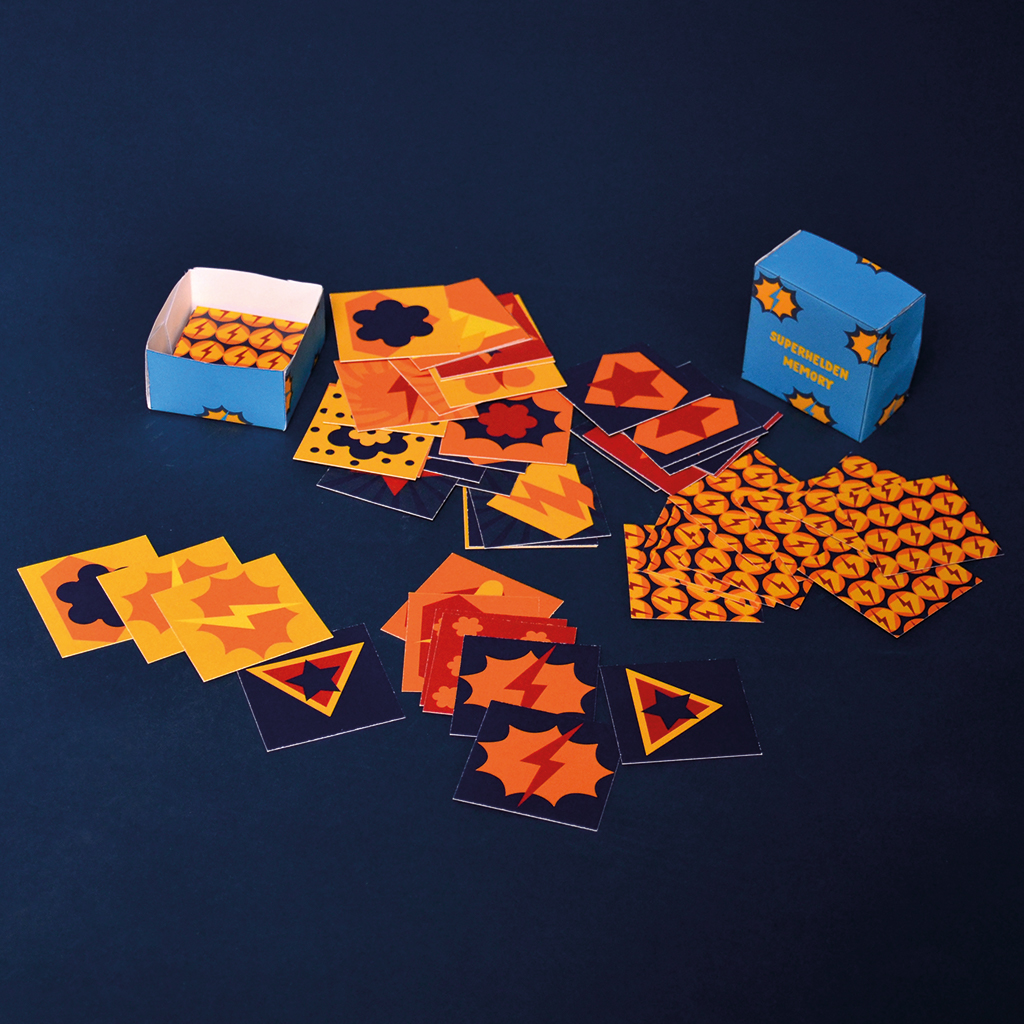 Kostenlose Druckvorlage: Superhelden-Memory mit Schachtel - Auch perfekt zum Schatzkisten füllen