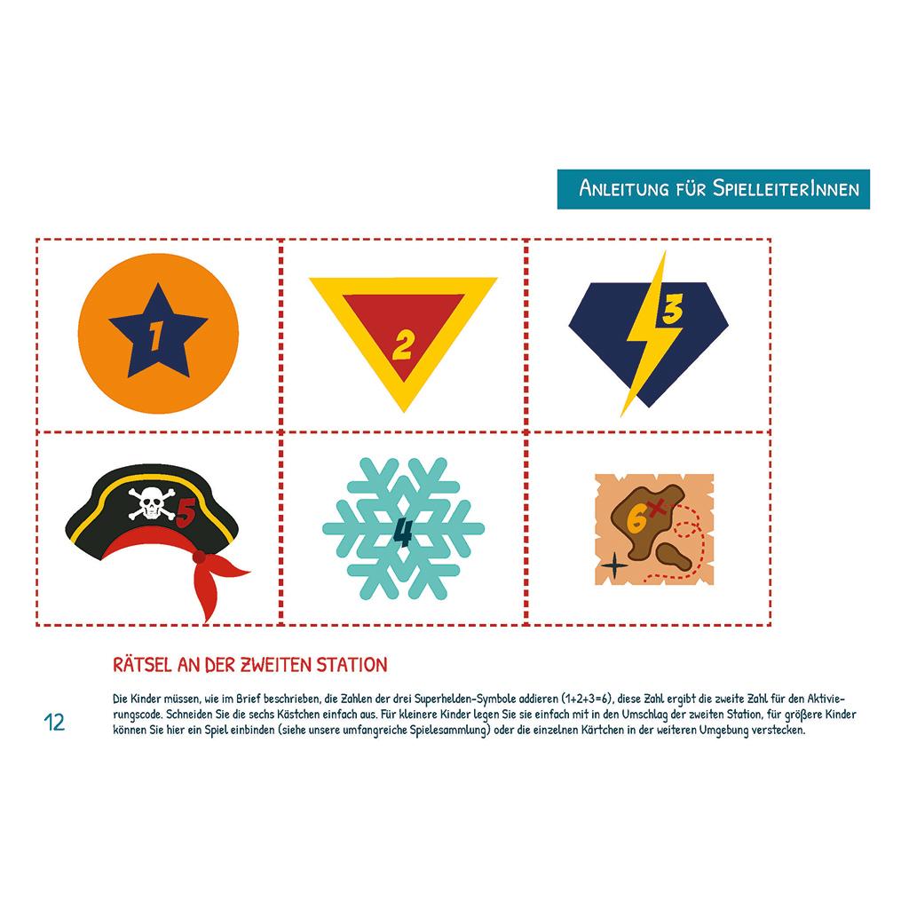 Das ist ein Beispiel für ein Rätsel. Dieses müssen die Kinder an der zweiten Station lösen. Insgesamt enthält die Superhelden-Schatzsuche 6 Rätsel.