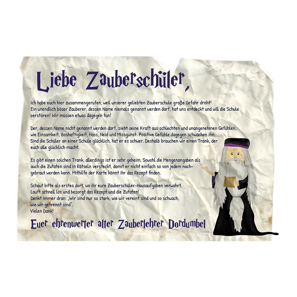 Zauberer-Schatzsuche zum Kindergeburtstag: 1. Brief