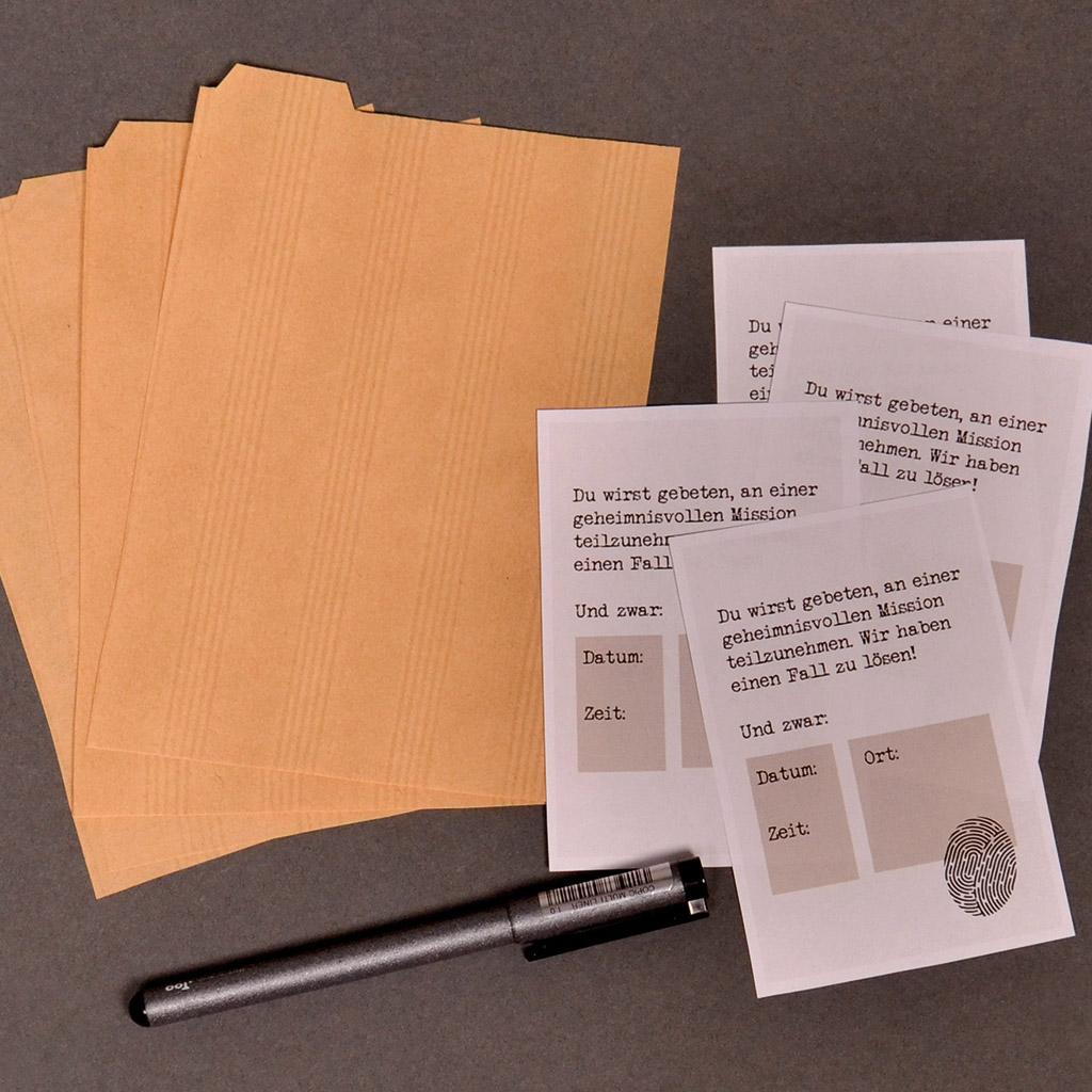 Einladungen zum Detektiv-Kindergeburtstag: Einladungstexte ausdrucken