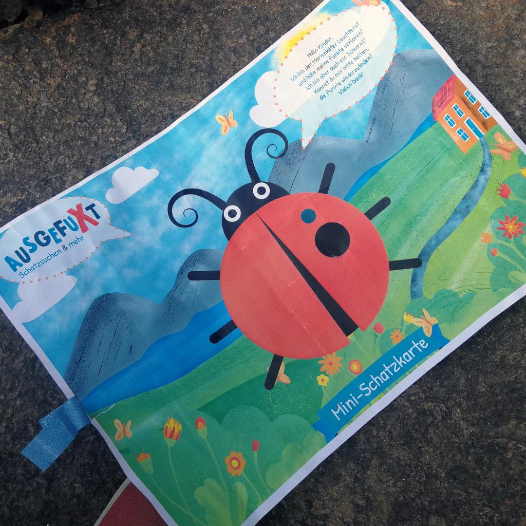 Mini-Bildungs-Schatzsuche für die Kleinsten: Schatzkarte mit 2 Punkten