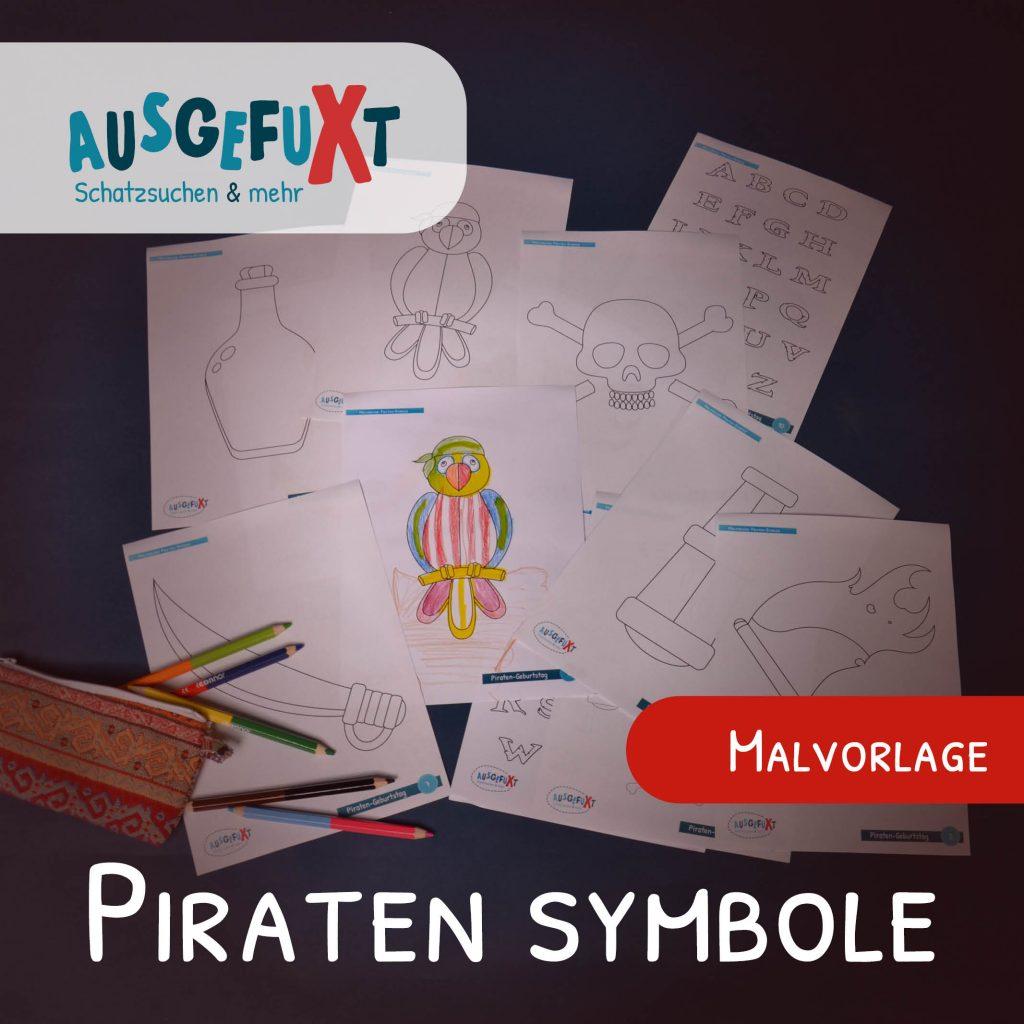 Kostenlose Malvorlage: Piraten-Symbole