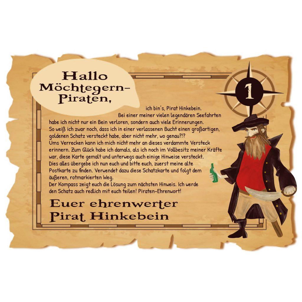 """Piraten-Schatzsuche """"für Große"""": Brief an der ersten Station"""