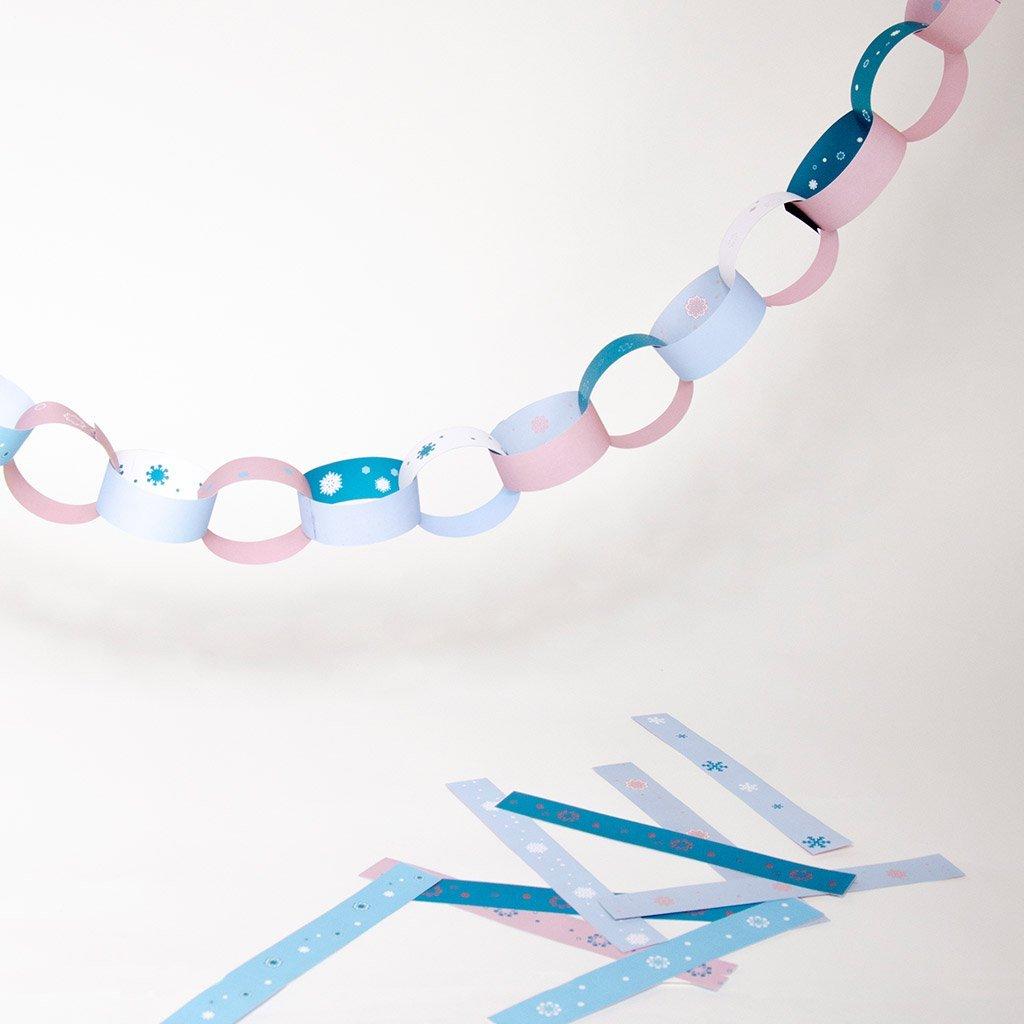 Schneeflocken-Wimpelkette aus Bändern