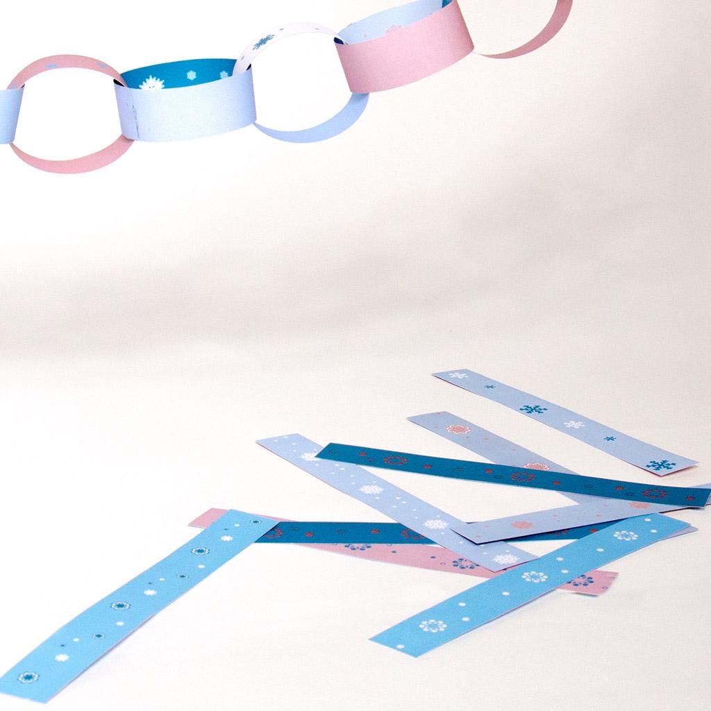 Schneeflocken-Wimpelkette aus Bändern: Beispiele für die Streifen