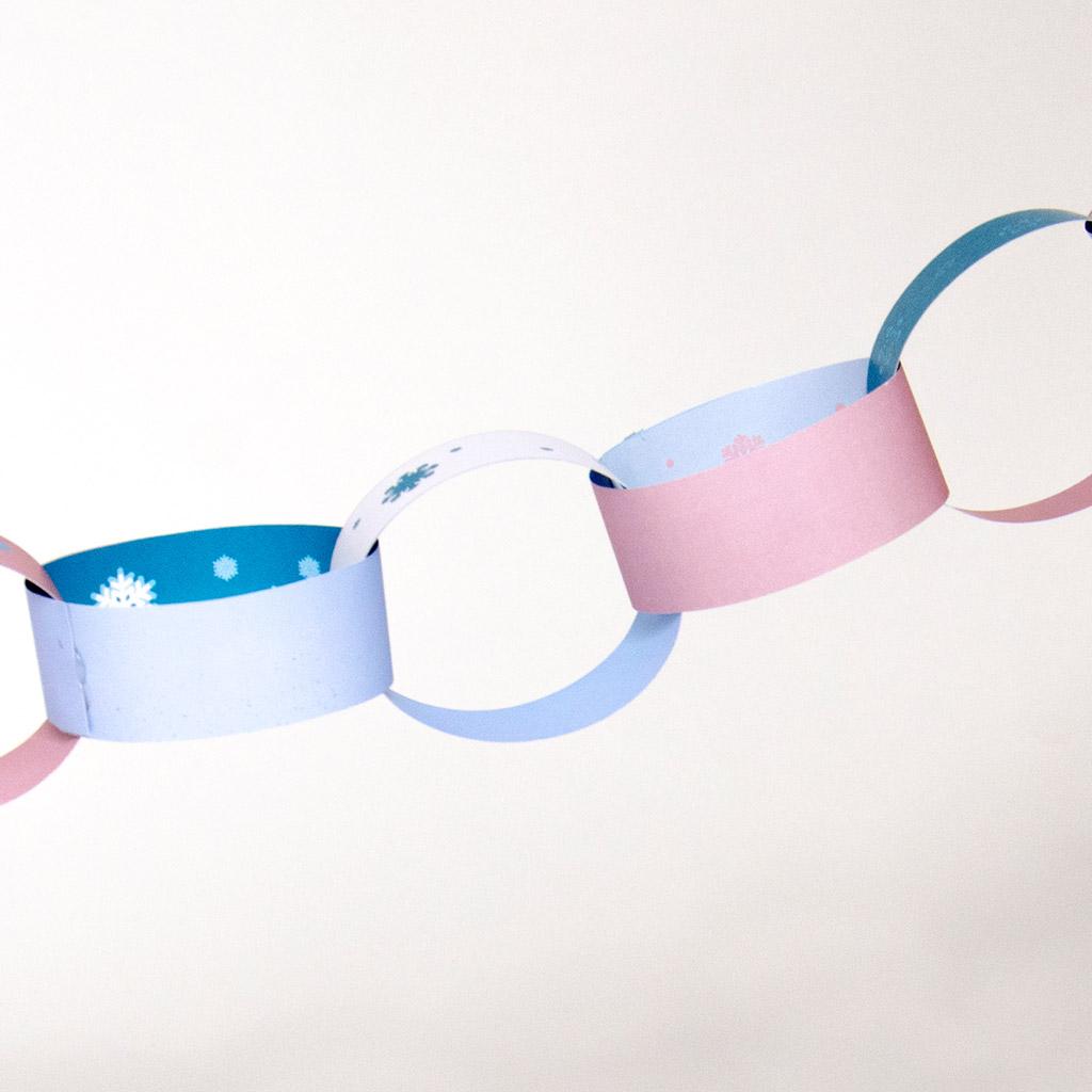 Schneeflocken-Wimpelkette aus Bändern: Beispielwimpel