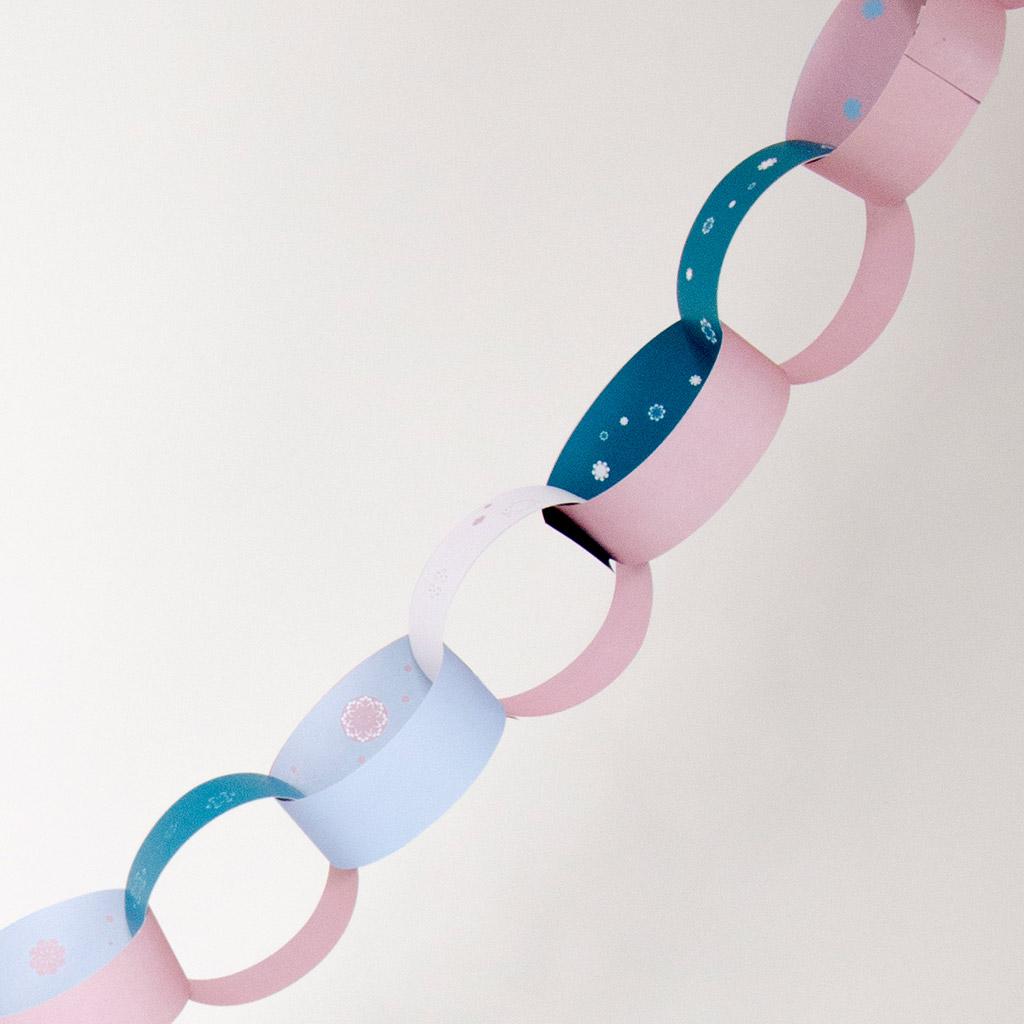 Schneeflocken-Wimpelkette aus Bändern: Beispielwimpel Nr. 2