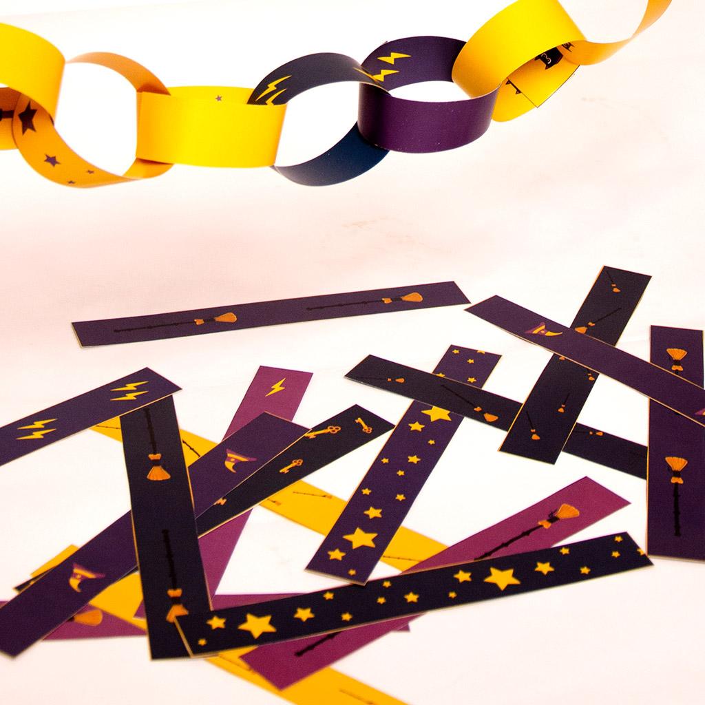 Zauberer-Wimpelkette aus Papierstreifen: Doppelseitiger Druck