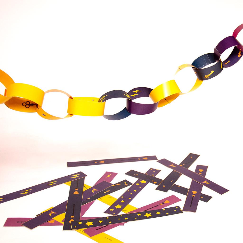 Zauberer-Wimpelkette aus Papierstreifen: Zusammenkleben