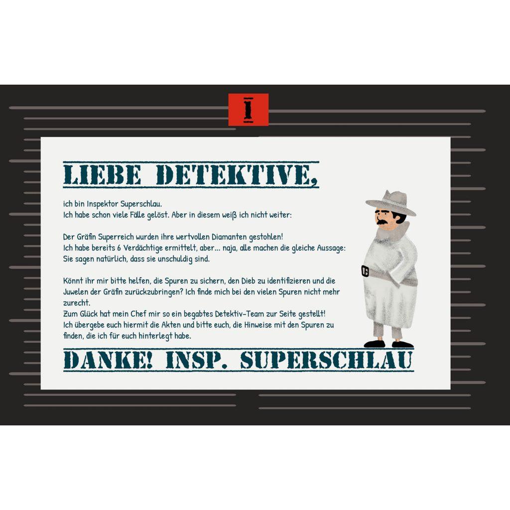 Detektiv-Schatzsuche: Brief an der ersten Station