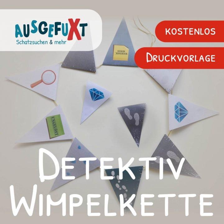 Detektiv-Wimpelkette zum Ausdrucken
