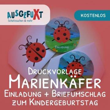 Kostenlose Vorlage: Einladung und Briefumschlag mit Marienkäfer