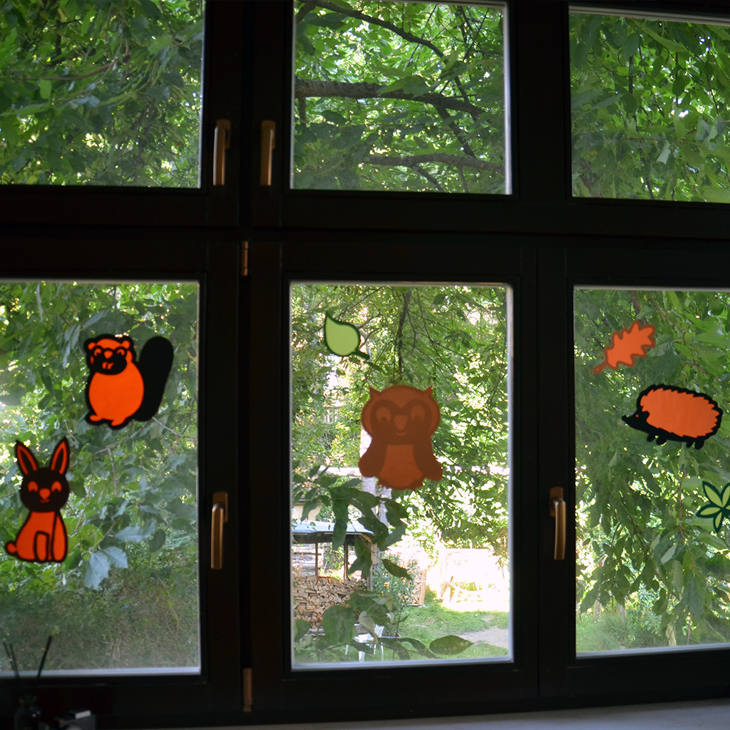 Fensterbilder-Vorlagen: Eule, Igel, Hase und Biber