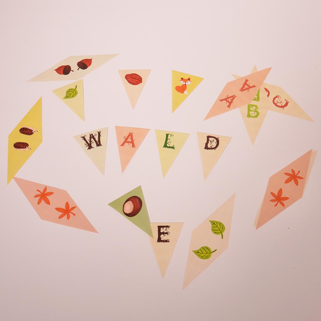 Wald-Wimpelkette zum Ausdrucken: 26 Buchstaben