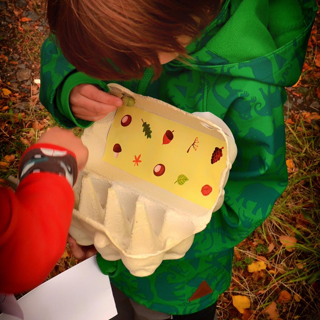 Kinder spielen das Waldbingo