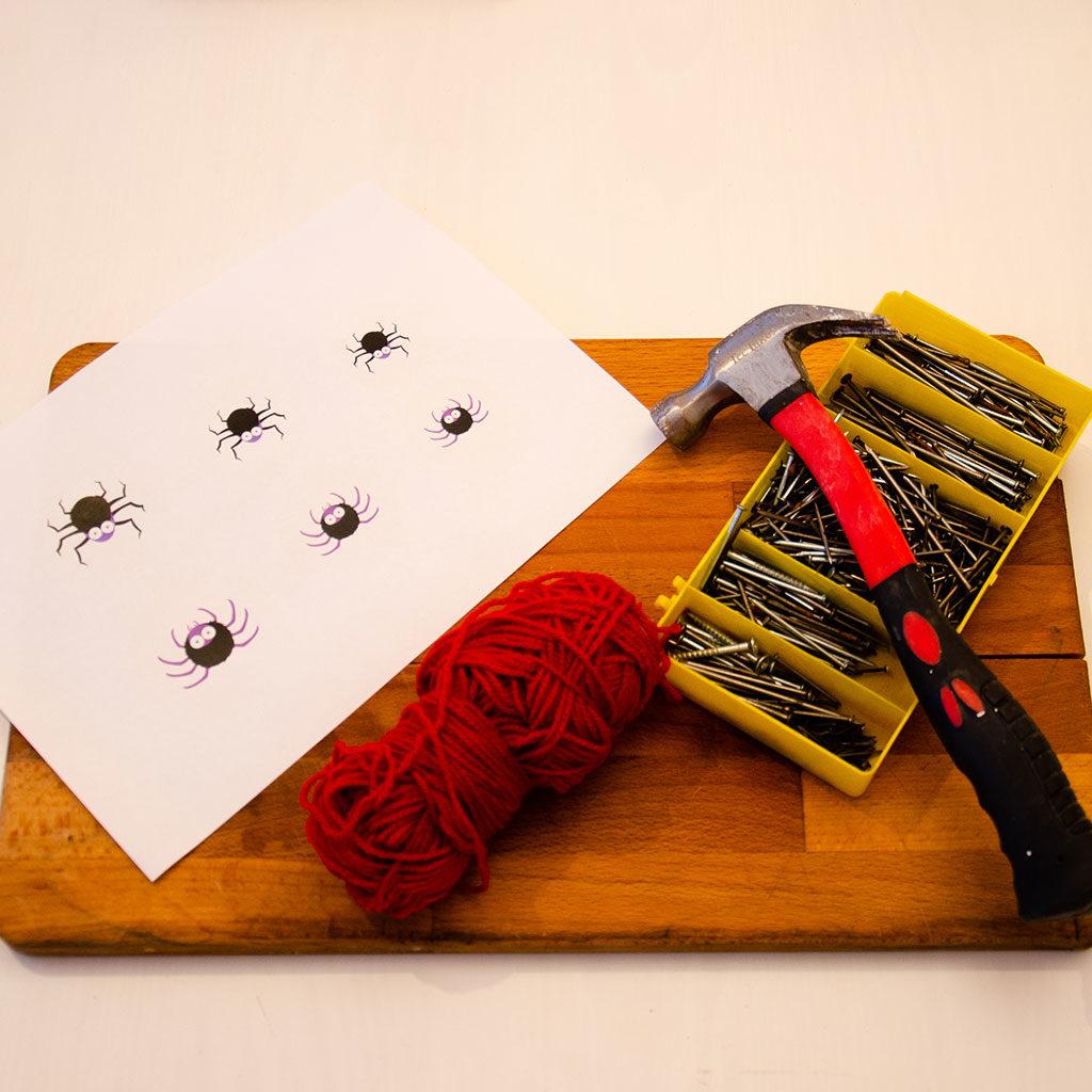 Spinnennetz basteln: Das Material Variante 2