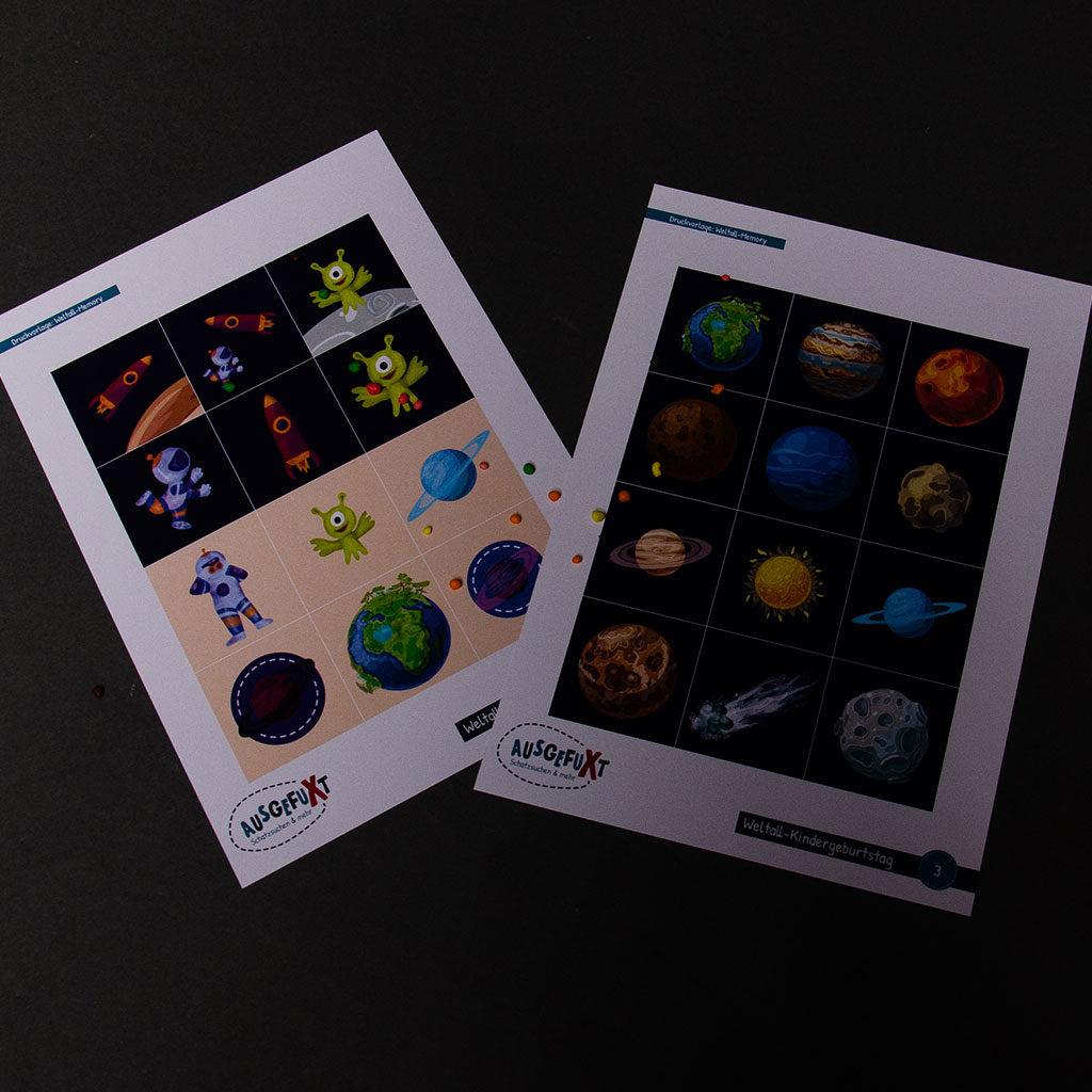 Druckvorlage für das Weltall-Memory