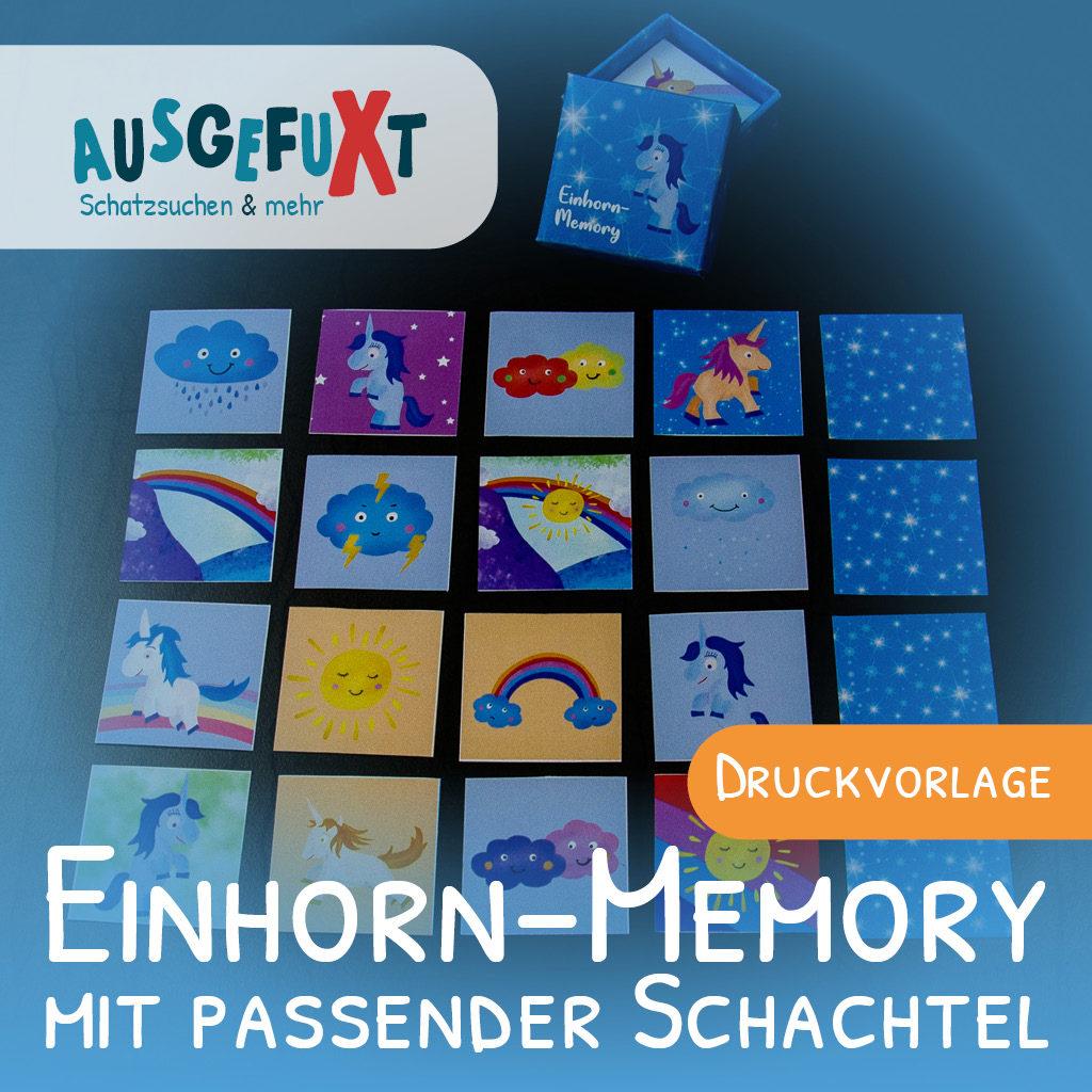 Einhorn-Memory mit passender Schachtel