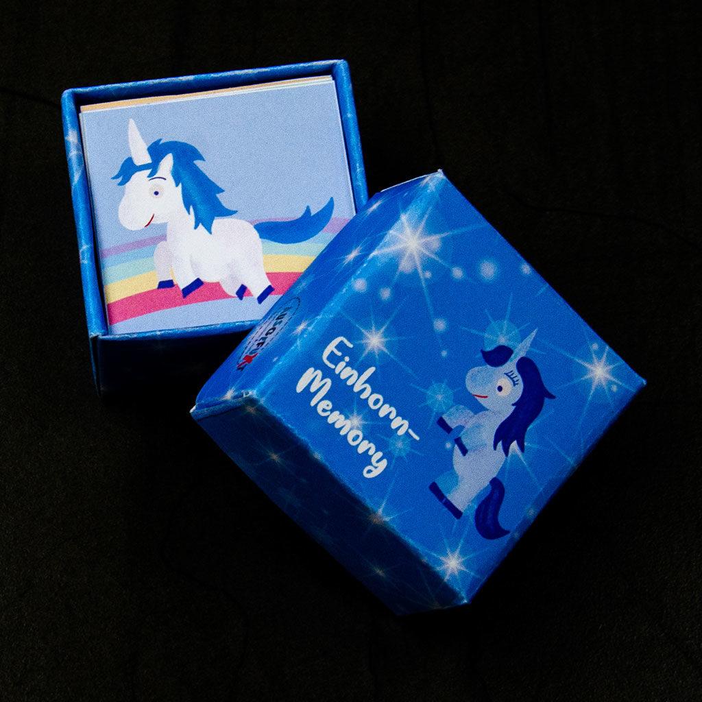 Das Einhorn-Memory enthält auch eine passende Schachtel