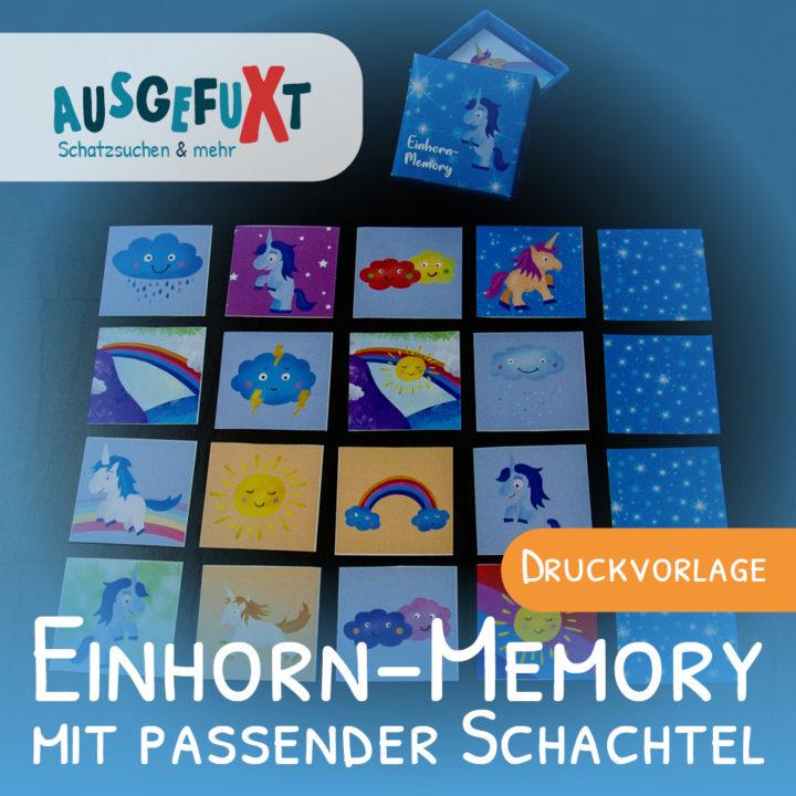Einhorn-Memory mit passender Schachtel basteln