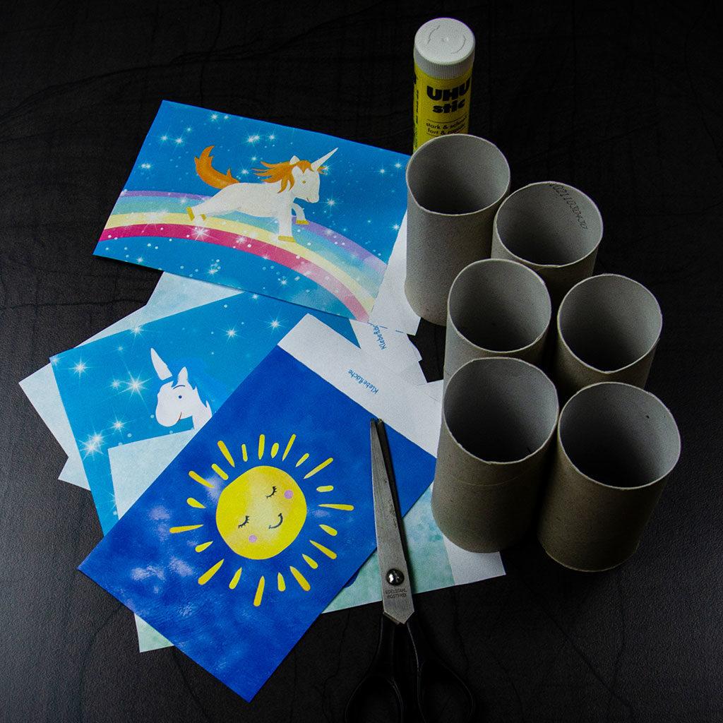 Einhorn-Einladungen: Die Vorlage ausdrucken und ausschneiden