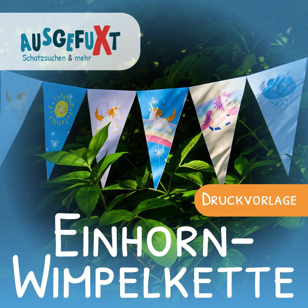 Einhorn-Wimpelkette: Kostenlose Druckvorlage