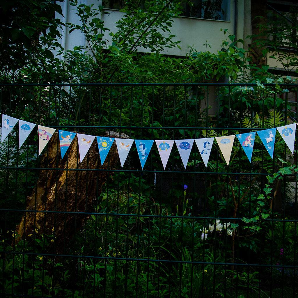 Einhorn-Wimpelkette für den Garten