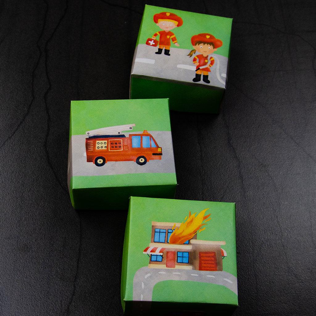 Feuerwehr-Schachtel basteln: Drei Motive