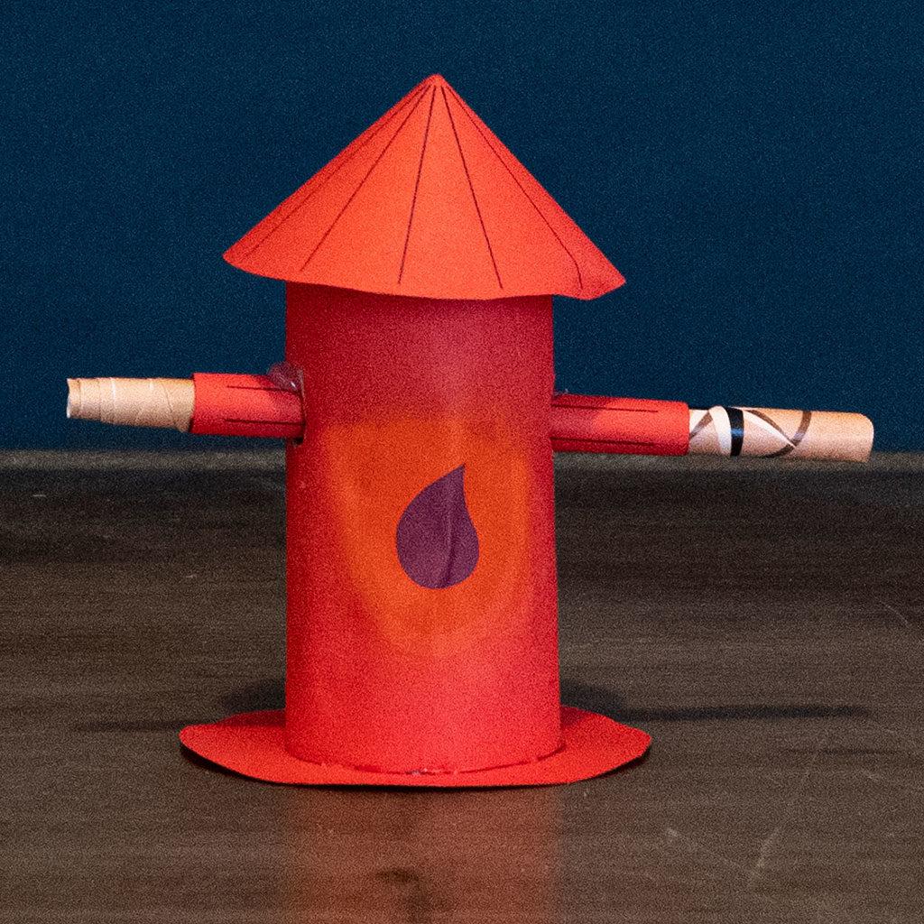 Gebastelte Hydranten als Versteck für Schatzsuchen-Hinweise oder Einladungen